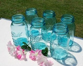 Set of Six Blue Perfect Mason Ball Quart Canning Jars, Wedding Vases