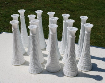 Instant Collection of Fifteen Vintage Anchor Hocking Starburst Milk Glass Bud Vases, Wedding Vases