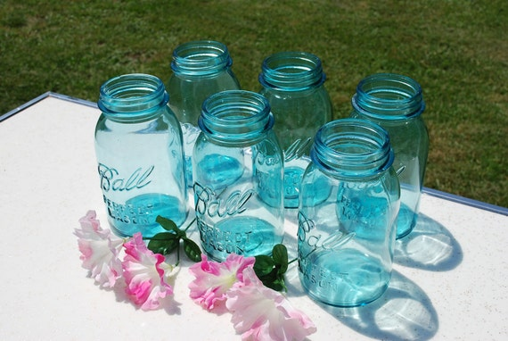 Set of Six Blue Perfect Mason Ball Quart Canning Jars, Wedding Vases