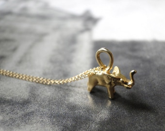 Mother's Day Gift, Elephant Necklace 18k Gold, Holiday Gift, Statement Necklace Elephant Charm Necklace, 14k Gold Filled Chain, Accessories