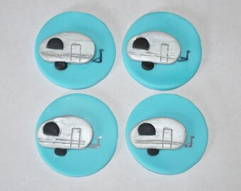 Camper Fondant Cupcake, Cake or Cookie Toppers- Edible- 1 DOZEN