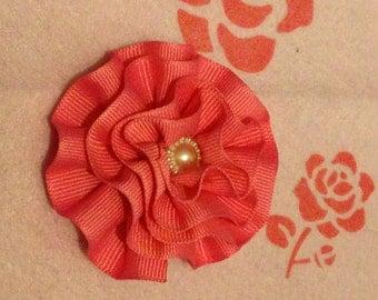Light pink flower hair clip