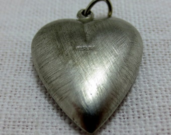 PUFFED HEART Sterling Silver Charm or Pendant