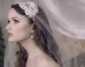 BLISS White Alencon Lace Tulle Fingertip Length Deco Rhinestone Headband Veil