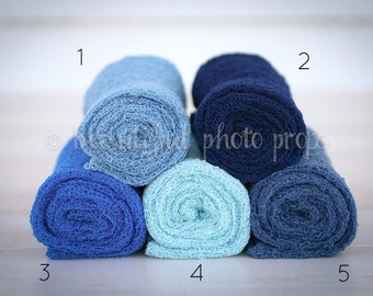 Stretch Knit Wraps in Blue Tones