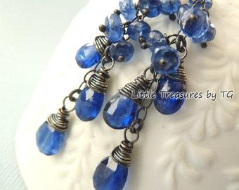 Sapphire earrings. Dangle. September Birthstone earrings. Wire wrapped. Drop earrings. Sapphire Kyanite earrings. Virgo birthstone gift