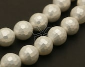 PL-037-SP / 10 Pcs - Faceted Round Shell Pearl Beads, (Cream White) / 8mm