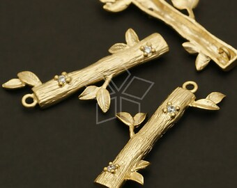 PD-509-MG / 2 Pcs - Cubic Wood Pendant, Matte Gold Plated over Brass / 14mm x 29mm