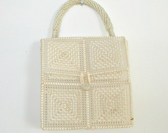 Vintage White Handbag / 70s handbag / kelly handbag / structured purse / mod purse / woven purse / canvas bag