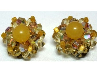 Signed Germany Rhinestone and Acrylic clip-on earrings Apparel & Accessories Jewelry Vintage Jewelry Earrings Clip On Rhinestone
