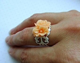 Melon Orange Cluster of Flowers White Filigree Adjustable ring