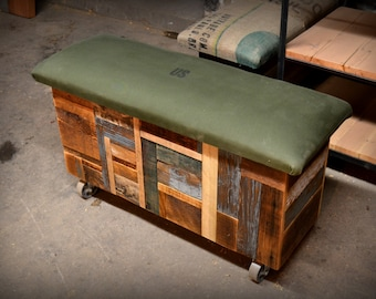 Reclaimed Wood and Recycled Army Tent Storage Trunks