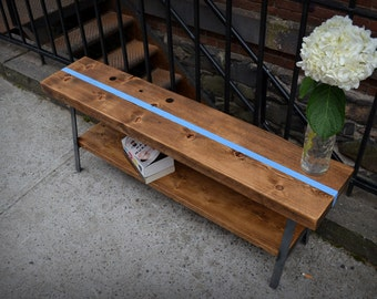 Reclaimed Wood A-frame Bench w/Stripe