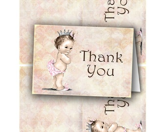 Vintage Baby Shower Invitation For Girl - Princess - Crown - Pink - DIY Printable Matching Thank You Card INSTANT DOWNLOAD