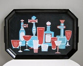 Cocktail Recipes Plastic Serving Tray Turquoise Blue Red and Black Waverly Products 1960s - BarkingSandsVintage