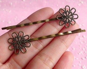 Hairclip Blanks / Hair Pin Barrette / Blank Hair Clips / Filigree Hairpins with 18mm Flower Pad (10pcs / Bronze) Hair Accessories F014