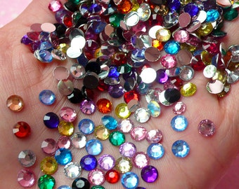 5mm Resin Round Faceted Rhinestones Mix (100 pcs) Decoden Kawaii Cell Phone Deco Scrapbooking RHM023