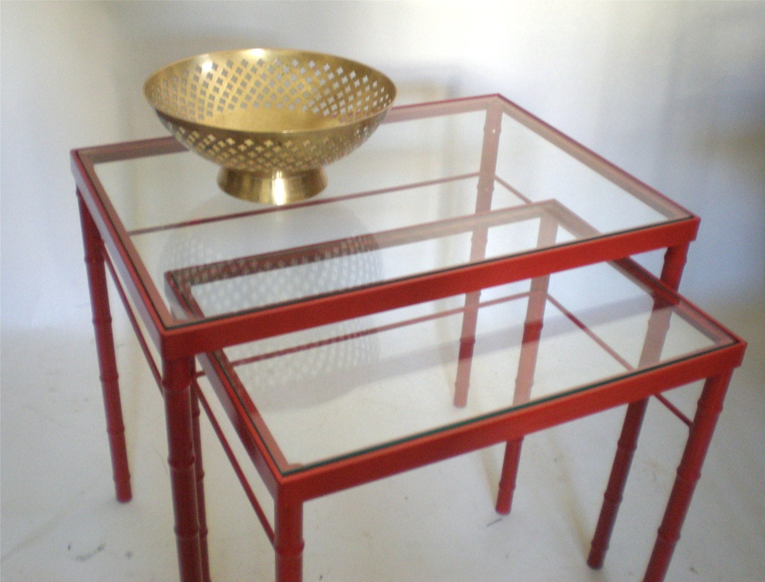 Faux bamboo nesting table glass tops by greenzebre on etsy for Glass top nesting tables