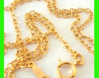 1mm 14k yellow Gold Filled cable Chain Necklace 20 inches made in USA