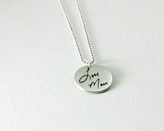 Memorial Jewelry Small Silver Pendant Loved Ones Actual Handwriting