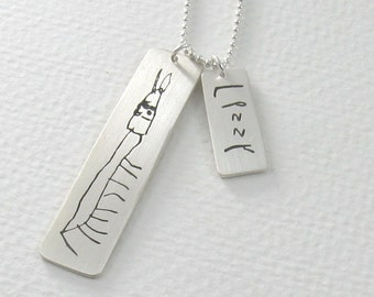 Your Childs Artwork and Handwriting Necklace