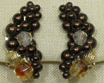 Deep Brown Hand Beaded Crescent Shaped Clip On Earrings 1960s NEW OLD STOCK cSc 226