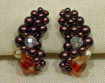 Deep Maroon Hand Beaded Crescent Shaped Clip On Earrings 1960s NEW OLD STOCK cSc 228