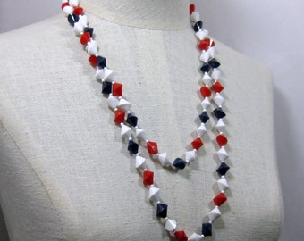 52 inch Red White and Blue Asymmetrical   Bead Necklace 1960s NEW OLD STOCK ..cSc 297.