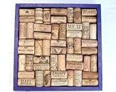 Purple wine cork bulletin board decoupaged in tissue paper