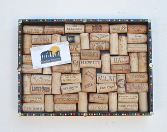 Wine Cork Board with Multicolored Pin Head Border