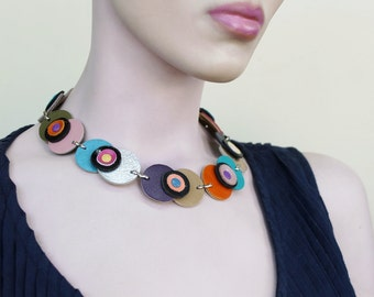 Statement Jewelry,Multicolored Leather Necklace