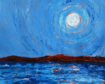 SALE original painting, full moon over the lake, titled spirit moon, FREE SHIPPING in us only