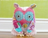 Stuffed Owl - Original Whoot Whoot Owl Friend - Bright Pink/Pink Chenille