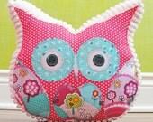 Owl Pillow Stuffed Owl - Bedroom Decor Pillow - Easter Spring Pink Pillow