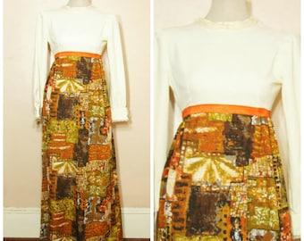 60s 70s Maxi Dress XS Small Lace Collar Abstract Print Long Sleeve Boho Avante Garde Hippie
