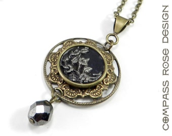 Victorian Jewelry - Hematite Blossom Antique Button Necklace - Elegant Drop Accent