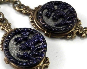 Vintage Inspired Jewelry - Navy Blue Antique Button Earrings - Victorian Setting - Victorian Edwardian Jewelry