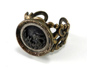 Victorian Jewelry, Bohemian Ring - Antique Button Ring - Victorian Button Jewelry - Bird in Flight - Adjustable - 1860-1920 - on brass