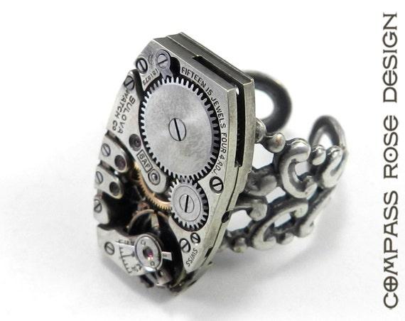 steunk ring soldered silver clockwork vintage mechanical