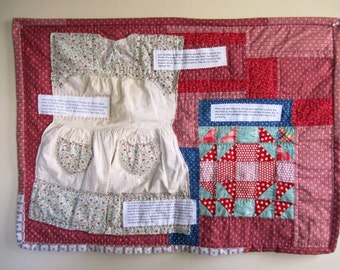 Applique Wall Quilt Mixed Media Primitive Feminist Patchwork  - 31 x 22.5 Inches