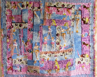 Princess Quilt Pink Lace Patchwork Feminist Wall Hanging Kitsch Girl Culture - 38 x 34 Inches