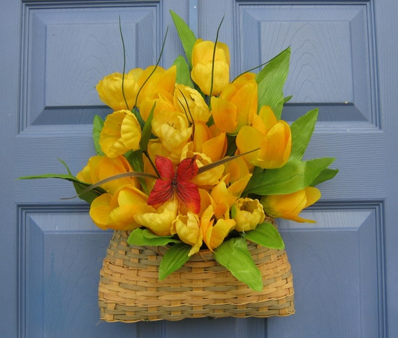 Front Door Baskets: Yellow Tulip Hanging Basket Front Door Wreath By Welcomesbypj