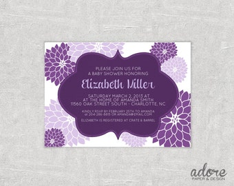 Plum & Lilac Floral Bridal or Baby Shower Invitation - Choose your Colors - Printable Digital File.