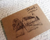 Rustic Wedding Thank you Notes -- Barn Thank You Notes -- Craft Note Cards -- 20 Pack --