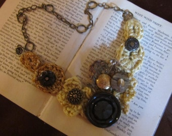 Crocheted Flowers and Vintage Buttons Necklace....Golden Glamour