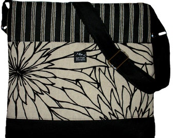 Black White Beige Flocked Flowers Stripes Velvet Fabric Large Purse Hobo Toddler Tote Diaper Messenger Bag Cross Body