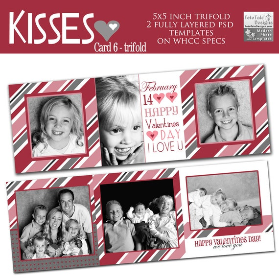 items similar to kisses valentine card 6 custom 5x5