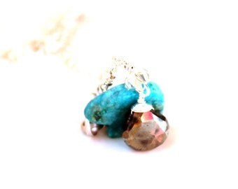 turquoise bear & pyrite necklace /  chain necklace teal and pyrite gemstone wire wrapped teardrop / sterling silver chain necklace