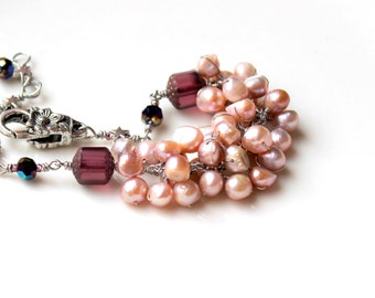 Blush / Bridesmaid bracelet / stacking feminine light rose pink pearls with purple czech glass / flower clasp / adjustable / wire wrapped