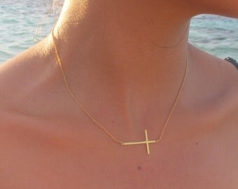 Long Skinny Gold Sideways Cross Necklace, 18k Gold sideways cross necklace, Cross off centered or centered-you choose